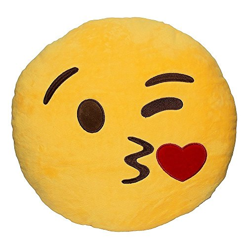 Wink Blow Heart Kiss Emoji Pillow 12.5 Inch Large Yellow Smiley Emoticon