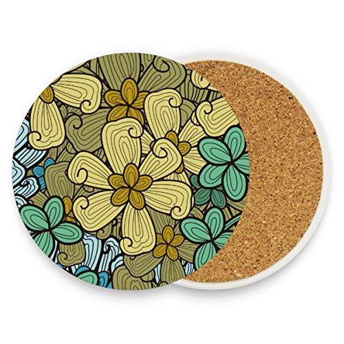 FANTAZIO Bijzondere Bloemen Cup Mat Coaster voor Wijnglas Thee Coaster met Varying Patronen Geschikt voor Soorten Mokken en Bekers 4 pieces set 1 exemplaar