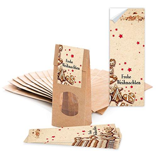 Logbuch-Verlag 10 braune Geschenktüten mit Fenster 7 x 4 x 20,5 cm + Weihnachtsaufkleber FROHE WEIHNACHTEN - Verpackung Tee Pralinen