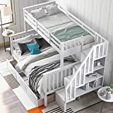 SOFTSEA Twin Over Full Bunk Bed with Stair,...