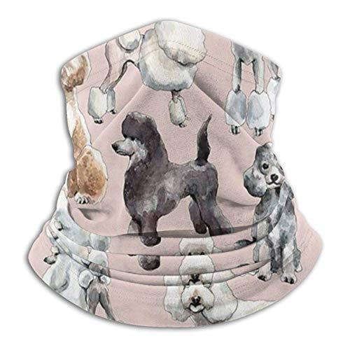 Bklzzjc Netter Hund Weiß Schwarz Pudel Kopfbedeckung Halsmanschette Wärmer Winter Skiröhrchen Schal Maske Fleece Gesichtsschutz Winddicht Für Männer Frauen