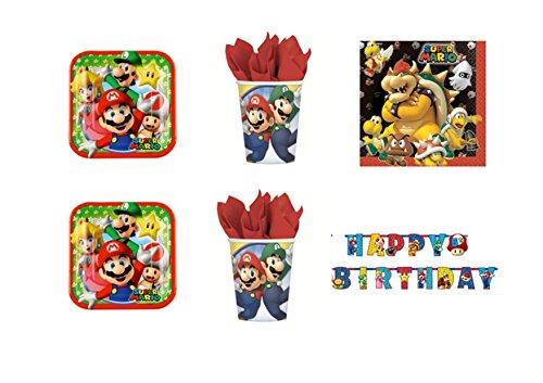 Super Mario Bros Luigi et fête – Kit N ° 32 CDC- (40 assiettes, verres, 40 serviettes, 1 guirlande bannière)