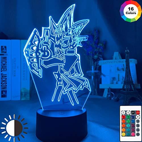 Yu-gi-oh Figur Led Nachtlicht 7 Farben Ändern Berührungssensor Kinder Schlafzimmer Dekor Licht Cooles Geschenk für Kinderlampe Yugi Mutou, 16 Farben mit Fernbedienung