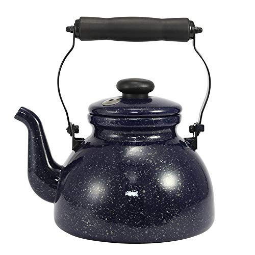 Hervidor de agua con silbato de 2L, olla de agua esmaltada con silbato, cafetera vintage, tetera de agua, para cocina de induccion