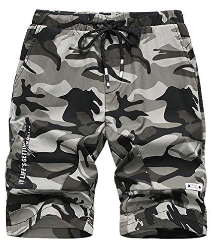 Idgreatim Jungen Camouflage Shorts Multipocket Shorts Army Print Cargo Combat im Freien Knielange Shorts mit Taschen