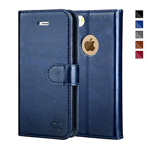 OCASE iPhone 5 Case iPhone 5S Case [Card Slot] [Kickstand] Leather Wallet Flip Case for iPhone 5 / 5S / SE Devices - Blue