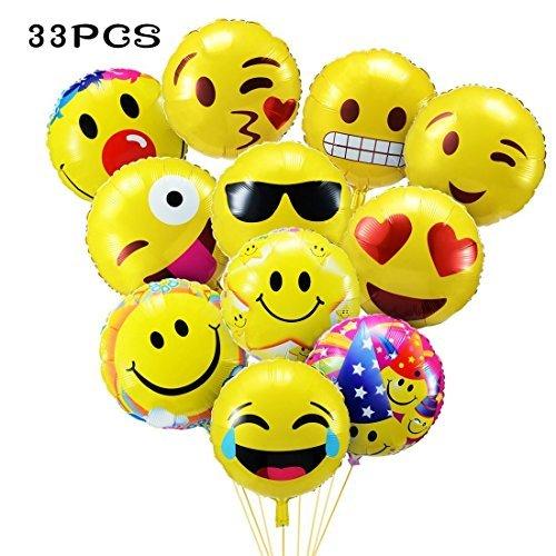 Lyhao 33 Stück Emoji Party Luftballons 45CM Folie Helium Gesichtsausdruck Balloons für Party Zur Dekoration
