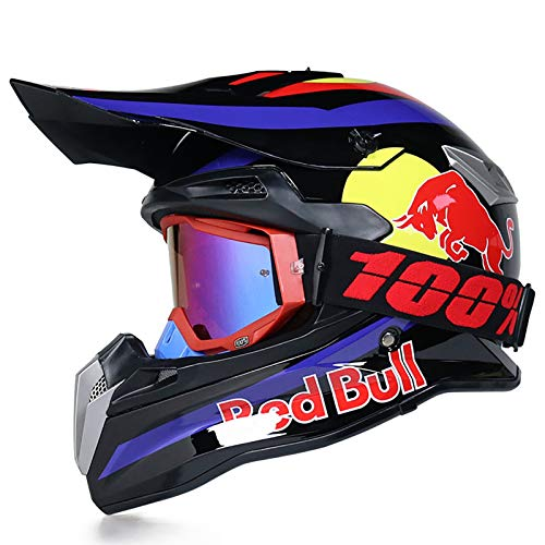 Casco Motocross,Locomotiva professionale rally mountain bike da corsa downhill casco integrale uomo e donna quattro stagioni Certificazione DOT/ECE Guanti per occhiali Red Bull B,S