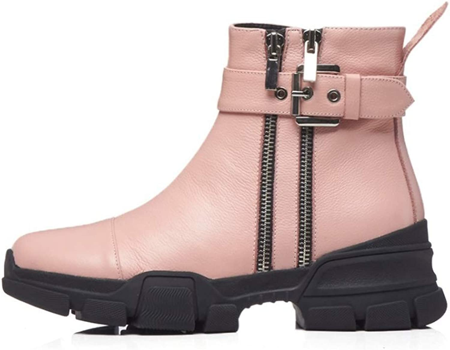 Women's Ankle Boots Leather Ladies Boots Fall Platform shoes Winter Martin Boots England Vintage Boots Knight Boots Black Pink (color   Pink, Size   36)