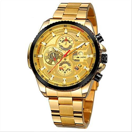 JDHFKS Reloj de pulsera de los hombres mecánico reloj de los hombres automático multifunción de acero inoxidable relojes de pulsera para hombre reloj masculino 22cm