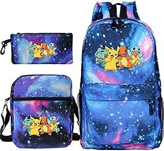 LINJIA Pokemon Bolsa escolar Pokemon Pikachu Mochilas Bulbasaur Squirtle Boys Girls School Bags Mochila de viaje Escolar con Crossbody Bag Pen 3pcs Set