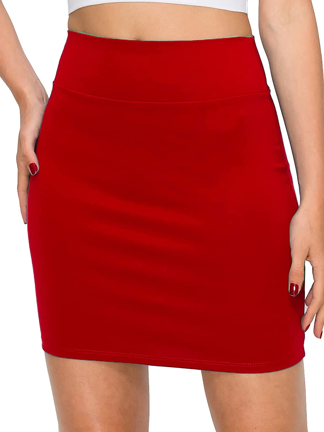 FashionMille Women Basic Bodycon Pencil Comfy Stretchy Hight Waist Mini Skirt Made in USA