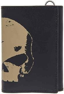 Men's Skull Chop Tri-Fold Wallet, Genuine Leather HDMWA11057-BLK