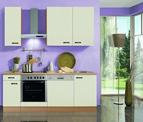 idealShopping GmbH Küchenblock mit Geschirrspüler und Glaskeramikkochfeld Klassik 210 cm in Creme