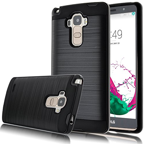 LG G Stylo Case, Kmall Heavy Duty Durable Drop Protection Shock-Absorption Impact Resistant Hybrid Dual Layer Armor Full-Body Protective Defender Protective Case Cover (Black+Brushed)