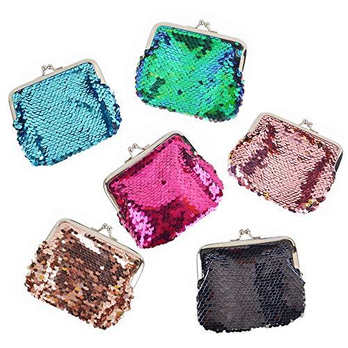 aspire 6 Stück wendbare Pailletten Doppelmünze Geldbörse Magic 2 Farbe Meerjungfrau Pailletten Beutel, Sortiert, Einheitsgröße