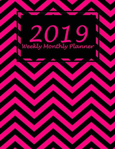 2019 Weekly Monthly Planner: Art Black Pink, Monthly Calendar Book 2019, Weekly/Monthly/Yearly Calendar Journal, Large 8.5