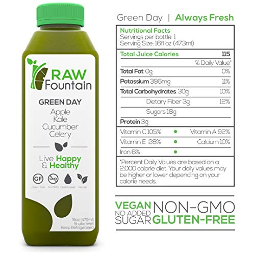 Raw Fountain 7 Day Juice Cleanse, All Natural Raw, Cold Pressed Fruit and Vegetable Juice, Detox Cleanse Weight Loss, 42 Bottle 16oz, 7 Ginger Shots 7