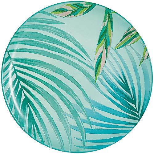 Luminarc Crazifolia - Plato de postre (20,5 cm, 1 unidad, cristal, 20,5 cm), color azul y verde