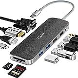 TSUPY HUB USB C 12 en 1 Diseño de Tela Tipo C Adaptador y HDMI 4K con VGA 4 Puertos USB 100W PD Carga RJ45 Ethernet Audio Lector de Tarjeta SD/TF Concentrador USB-C HUB para Macbook Pro,DELL y más