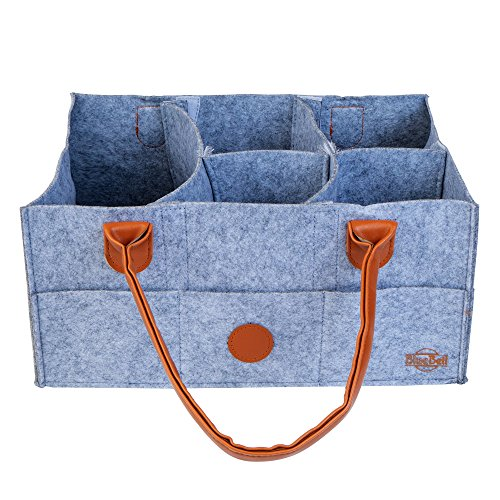 Baby Diaper Caddy Organizer - Nursery Storage Bin   Travel Car Bag for Diapers, Wipes, Toys   Portable Large Basket   Changing Table Tote   Baby Shower Gifts Boys Girls   Newborn Registry Must Haves