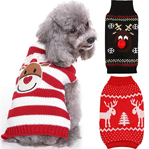 3 Pieces Stylish Pet Christmas Sweaters Reindeer Dog Sweaters Cute Pet Winter Knitwear Xmas Clothes Cartoon Reindeer Holiday Knitwear Sweaters for Dogs and Cats (Large)
