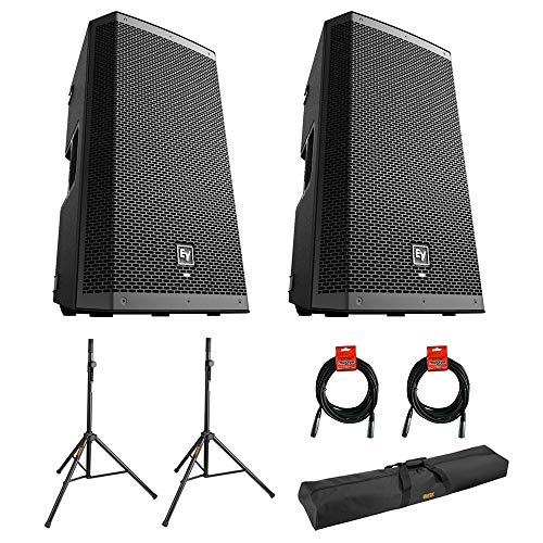 """Electro-Voice ZLX-12BT 12"""" 2-Way 1000W Bluetooth Powered Loudspeaker (Pair) with 2x Steel Speaker Stand, Stand Bag 51"""" and 2x XLR Cable Bundle"""