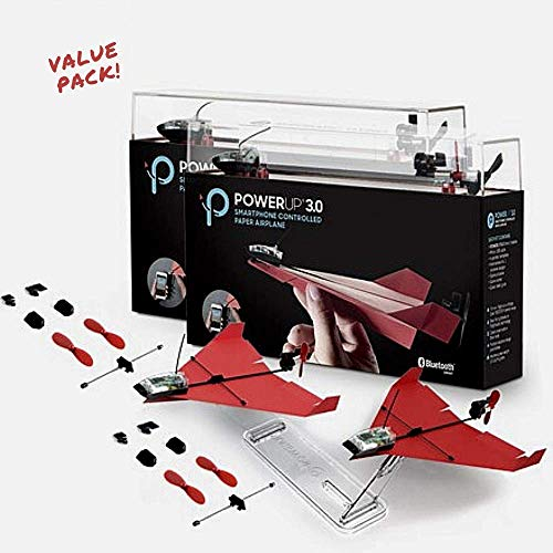 POWERUP 3.0 DOUBLE EXTRAS - Value Pack Includes 2 X Power Up 3.0 Kits And 2 Additional Spare Parts Kits. POWERUP 3.0 Original Smartphone Controlled Paper Airplanes Conversion Kit - Durable Remote Cont