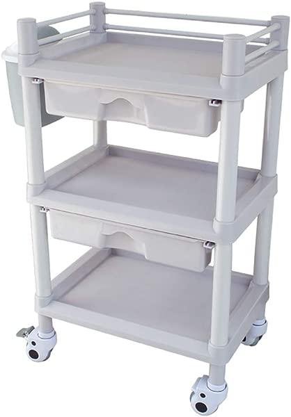 医疗车工具 3 层 ABS 美容院水疗手推车带储物抽屉脏桶移动医疗实用车 90千克容量 54 37 92厘米
