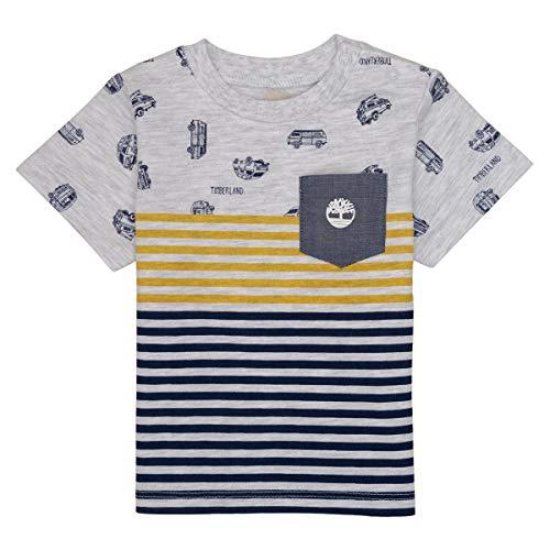 Timberland T-Shirt Coton rayé et Motifs Bebe Couche Gris Clair Chine 9MOIS