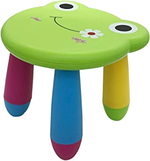 Kids Cartoon Stool Chair Collapsible Plastic Toddlers Children Boys Girls Footstool for Preschool, Daycare, Bedroom, Playroom, Nursery Seat (Green Frog)