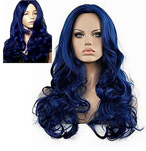 Diy-Wig Long Body Wavy Curly Blue Wig for Women Center Party No Bangs Cosplay Synthetic Hair Replacement Full Wig
