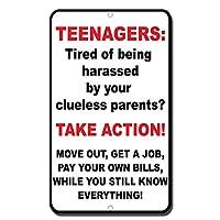 金属の駐車場標識、ティーンエイジャー、あなたの無知な両親から嫌がらせを受けるのに疲れましたか? アクションサイン、ビンテージプラークポスターカフェキッチン家の壁の装飾金属ティンサイン
