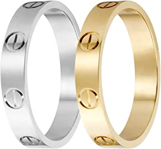 HELN Love Rings Lifetime for Women Men Couples Valentine's Day Promise Engagement Wedding with Screw Design Best Gifts for Love Size 5-11