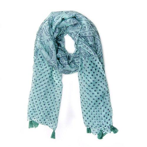 MANUMAR Schal für Damen in türkis weiß mit Ornamenten und Punkten als perfektes Herbst Winter Accessoire