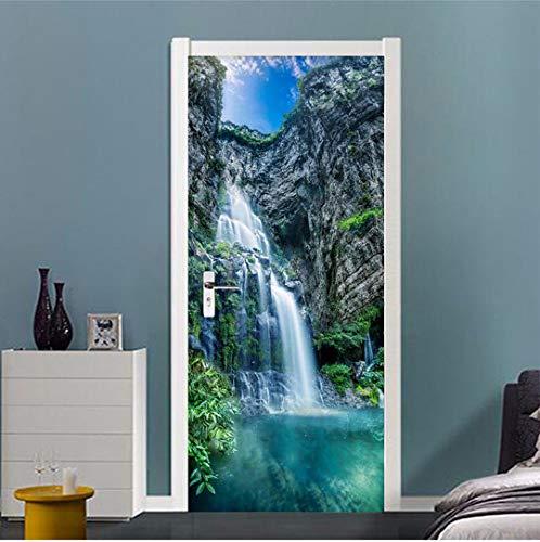 MNJKH Door stickers door decals, Waterfalls Landscape Door Sticker Home Decor Living Room Dining Room Self-Adhesive Waterproof Wall Decals Vinyl Wallpaper 3D