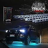 OPT7 Aura Aluminum Underglow LED Lighting Kit for Truck w/Wireless Remote, Exterior Neon Accent Underbody Strip, Multi-Color n Mode, Waterproof, Soundsync, Aluminum Casing, Door Assist, Smart LED, 4pc