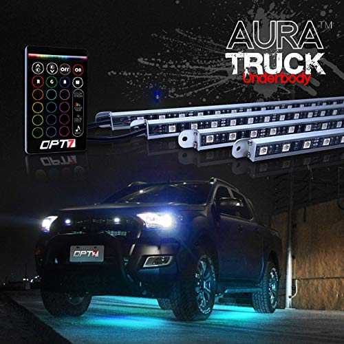 OPT7 Aura 4pc Universal Underglow for Car, Pickup Truck LED Lighting Kit w/remote - Soundsync - Full-Color Spectrum - Underbody Rigid Aluminum - 1 Year Warranty
