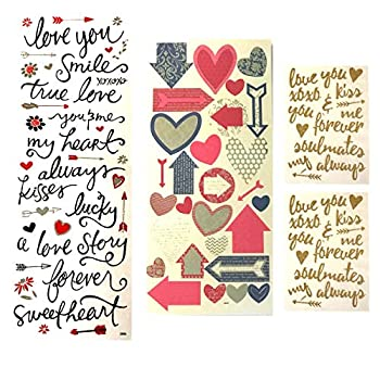 Holly Lines 98-Piece Love Scrapbook Stickers Set with Arrows Hearts Flowers Gold Four Separate Sheets Include Glitter Gold Script Fancy Arrows and Hearts and Black Script Words Phrases and Symbols