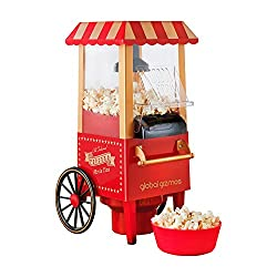CARNIVAL POPCORN MAKER – This unique popcorn maker is shaped like a traditional fairground cart and lets you make healthy homemade popcorn from the comfort of your own kitchen. HEALTHY POPCORN MAKER – This popcorn maker uses hot air to pop the kernel...