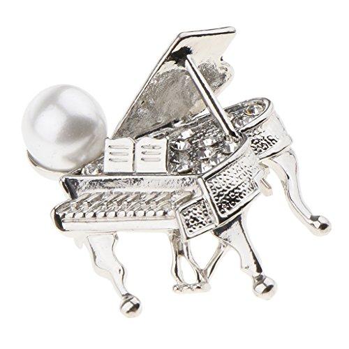 D DOLITY 1 Stück Unisex Modisch Klavier förmig Broschen Strass Brosche Modeschmuck Brosche Halloween-Partei Schmuck - Silber