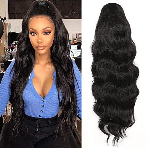 YEESHEDO Extensión de cabello de cola de caballo ondulada larga para mujeres negras, pelucas mujer pelo natural extensiones de caballo con cordón , Clip en postizo sintético rizado negro