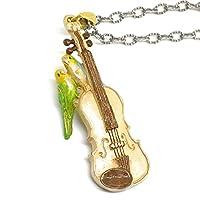 [パルナートポック/Palnart Poc]愛の挨拶[バイオリンにとまった2羽のセキセイインコのネックレス][NE267]