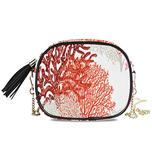 Color brillante Coral Ocean Life Bolso de noche para mujer Bandolera Fiesta formal Bolso para mujer Bolsos para mujer Decoración para niñas Mini bolsos cruzados para mujer 7.48x5.9x3.54 pulgadas