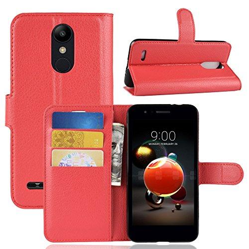 Fertuo LG K9 Hülle, Handyhülle Leder Flip Hülle Tasche mit Standfunktion, Kartenfach, Magnetverschluss, Silikon Bumper, Bookstyle Schutzhülle Wallet Cover für LG K9 / LG K8 2018, Rot