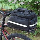 自転車 サイドバッグ 大容量 パニアバッグ シートバッグ 自転車バッグ リアバッグ 多機能 拡張可能 防水カバー付き ショルダーストラップ付き サイクリング マウンテン ロード (34x24cm/ブラック)