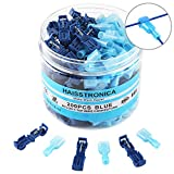 200PCS T-tap Connectors-Haisstronica Quick Wire Splice Connectors, Disconnect Wire Tap Connectors for Watercraft,Electrical,Electronics,Aircraft,Boat,Truck(Blue 16-14)
