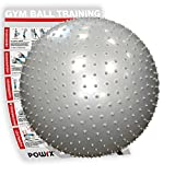 POWRX Gymnastikball Silber 55cm mit Massage Noppen inkl. Workout   Sitzball für einen GESUNDEN Rücken   Yogaball Fitnessball ideal für Büro und zu Hause