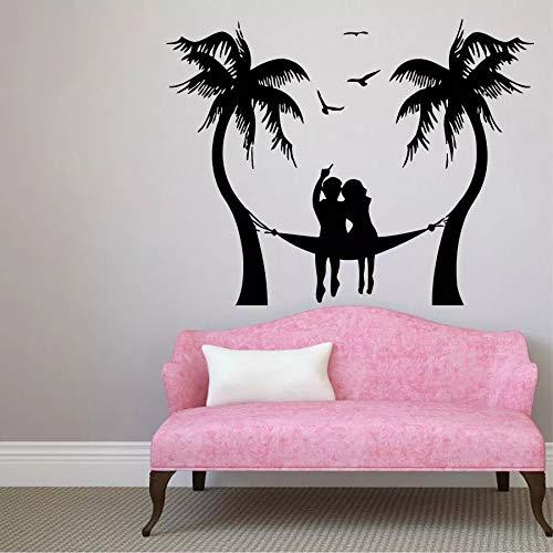 Pareja palmera playa gaviota pared vinilo pared vacaciones viajes costa baño escuela dormitorio art