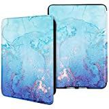 Hi Space Marble Blue Water-Safe Case for Kindle Paperwhite 4 (10th Generation-2018), PU Leather Smart Gold Marble Cover with Auto Wake/Sleep Kindle Paperwhite 4 10th Generation-2018 Released, K10